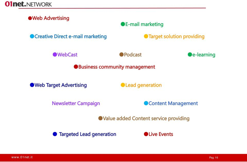 Web Target Advertising Lead generation Newsletter Campaign Content Management