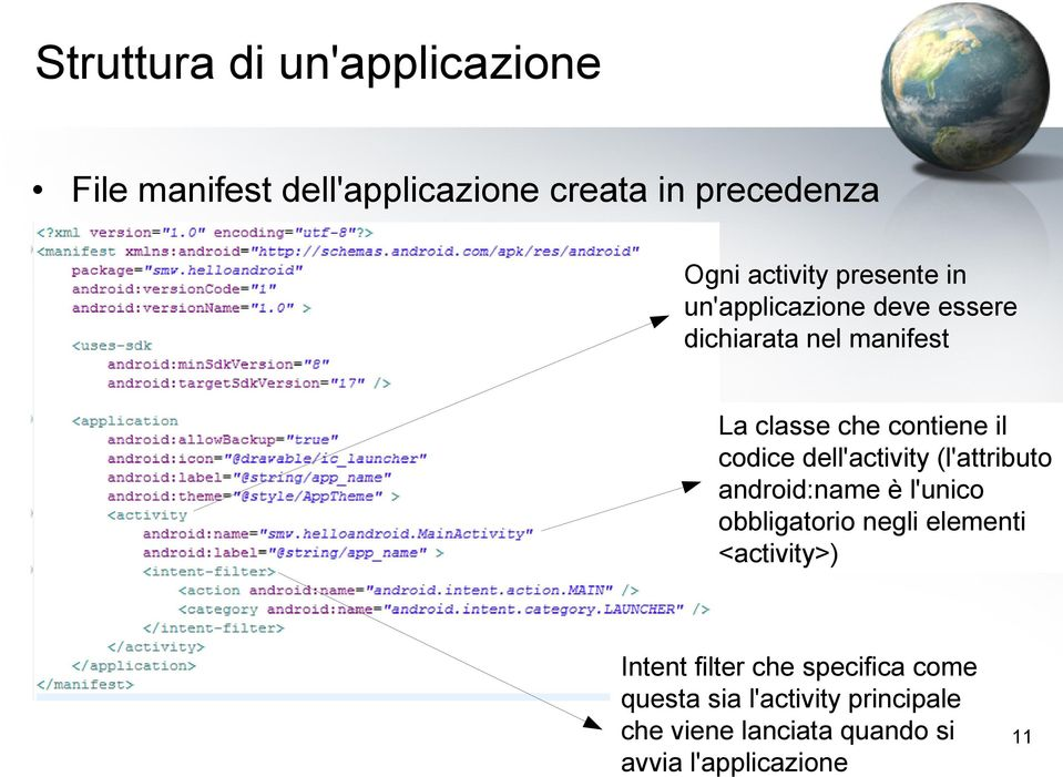 dell'activity (l'attributo android:name è l'unico obbligatorio negli elementi <activity>) Intent