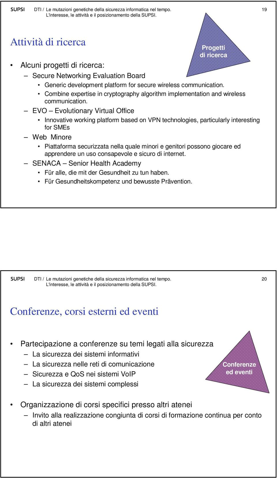EVO Evolutionary Virtual Office Innovative working platform based on VPN technologies, particularly interesting for SMEs Web Minore Piattaforma securizzata nella quale minori e genitori possono
