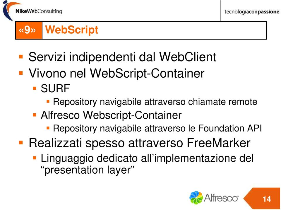 Webscript-Container Repository navigabile attraverso le Foundation API