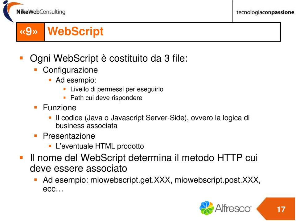 logica di business associata Presentazione L eventuale HTML prodotto Il nome del WebScript determina