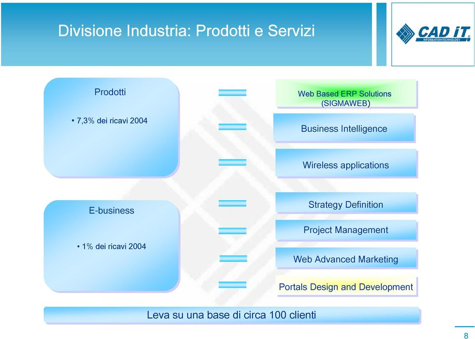 E-business 1% dei ricavi 2004 Strategy Definition Project Management Web