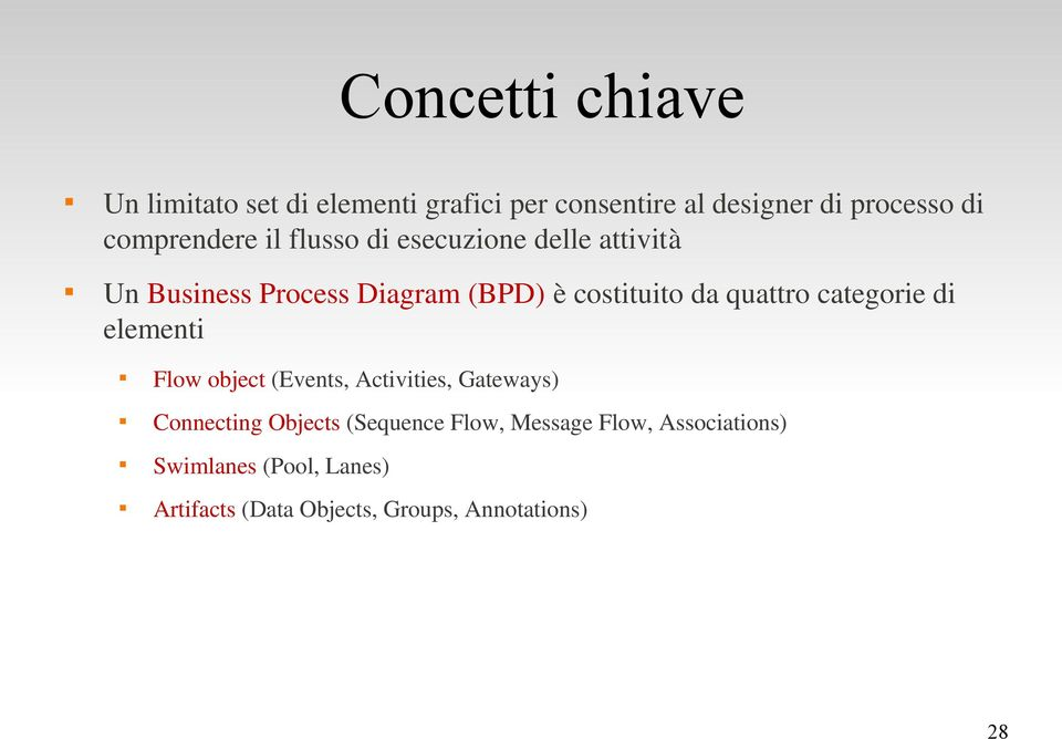 quattro categorie di elementi Flow object (Events, Activities, Gateways) Connecting Objects