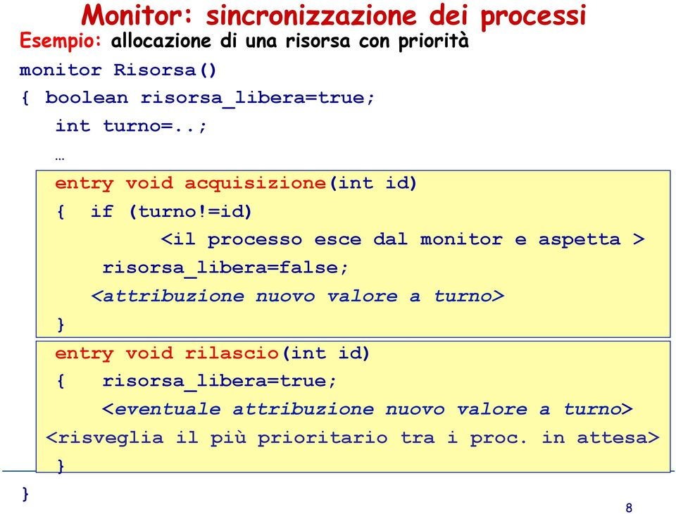 =id) <il processo esce dal monitor e aspetta > } risorsa_libera=false; <attribuzione nuovo valore a turno> entry