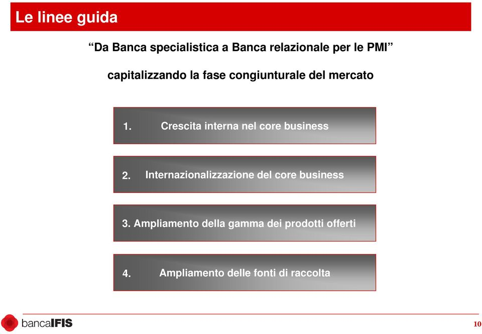 Crescita interna nel core business 2.