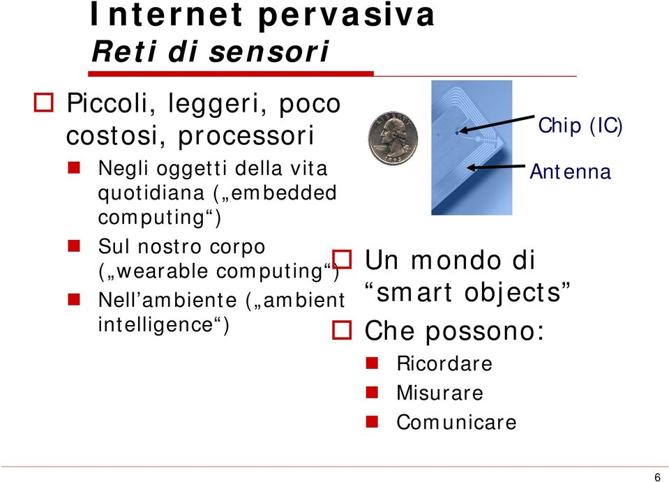 nostro corpo ( wearable computing ) Nell ambiente ( ambient intelligence )