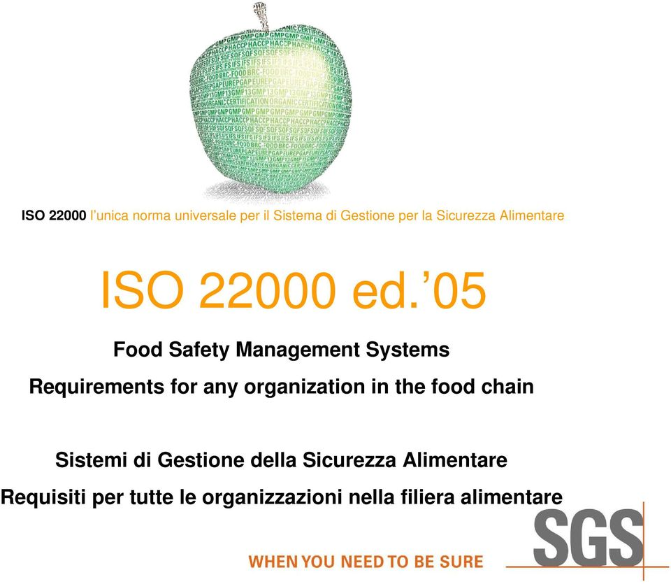 05 Food Safety Management Systems Requirements for any organization in the