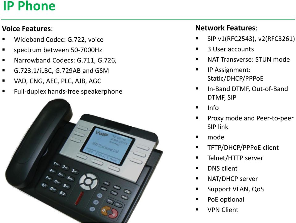 User accounts NAT Transverse: STUN mode IP Assignment: Static/DHCP/PPPoE In-Band DTMF, Out-of-Band DTMF, SIP Info Proxy mode and