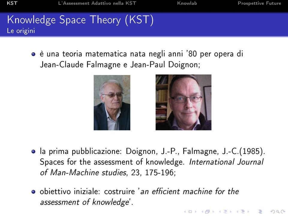 -C.(1985). Spaces for the assessment of knowledge.