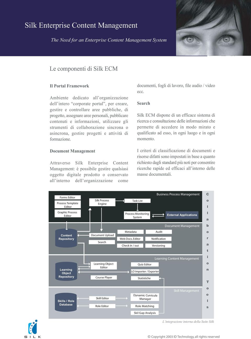 Dcument Management Attravers Silk Enterprise Cntent Management: è pssibile gestire qualsiasi ggett digitale prdtt cnservat all intern dell rganizzazine cme dcumenti, fgli di lavr, file audi / vide