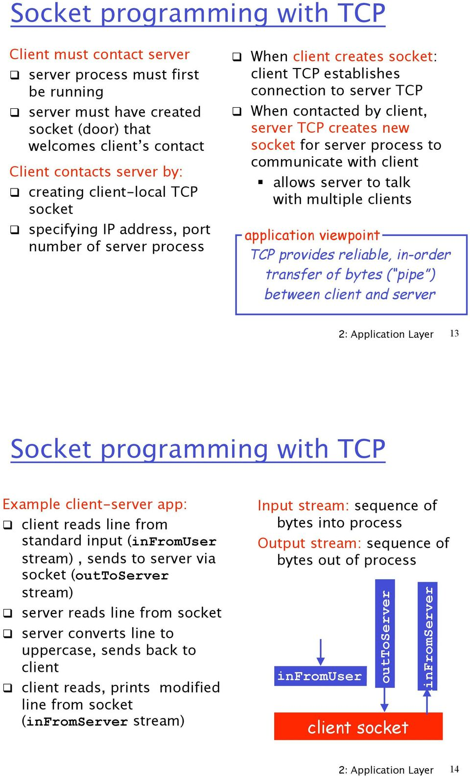 "When contacted by client, server TCP creates new socket for server process to communicate with client "" allows server to talk with multiple clients application viewpoint TCP provides reliable,"