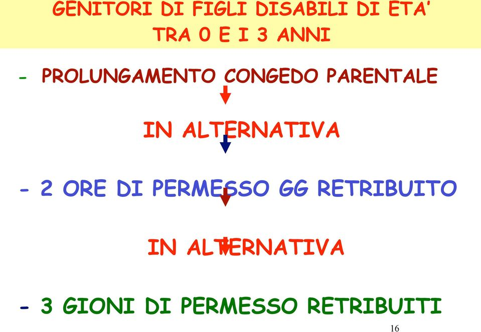 ALTERNATIVA - 2 ORE DI PERMESSO GG RETRIBUITO