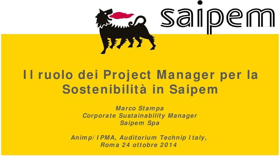 Corporate Sustainability Manager Saipem Spa