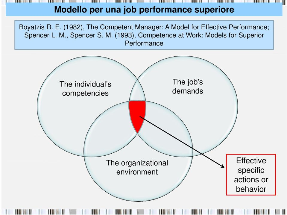 M. (1993), Competence at Work: Models for Superior Performance The individual s