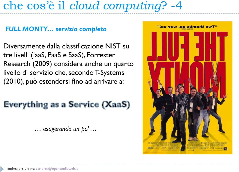 su tre livelli (IaaS, PaaS e SaaS), Forrester Research (2009) considera