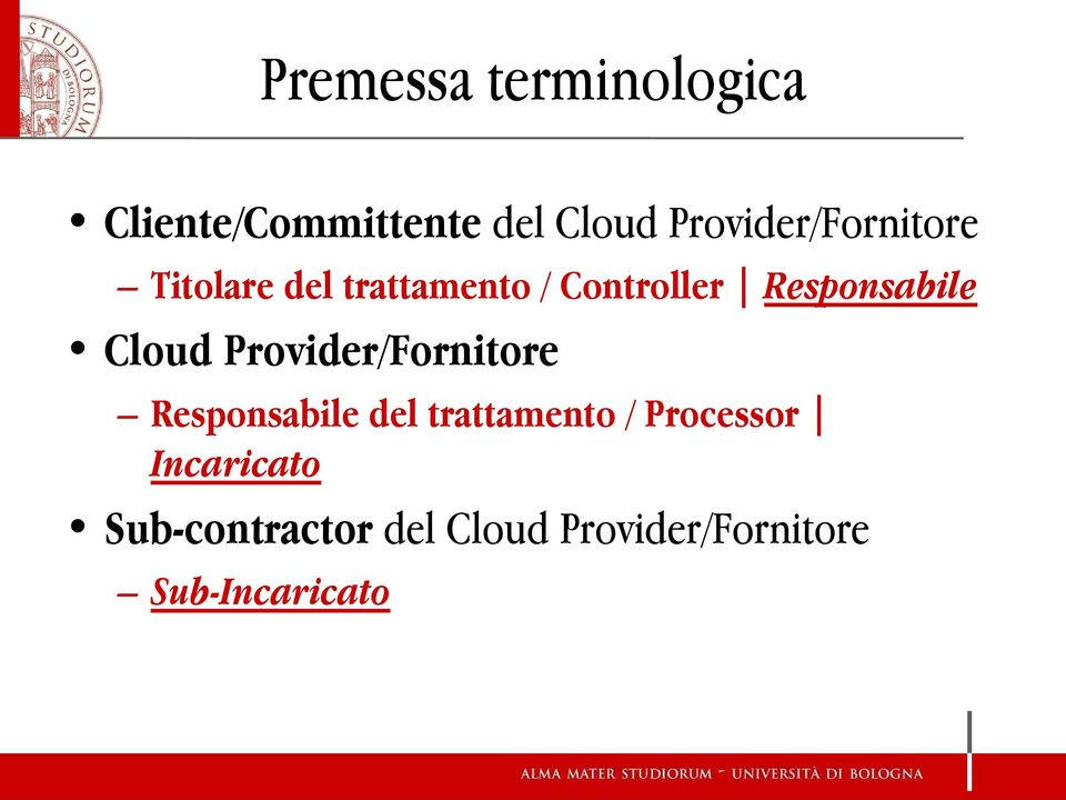 Responsabile Cloud Provider/Fornitore Responsabile del
