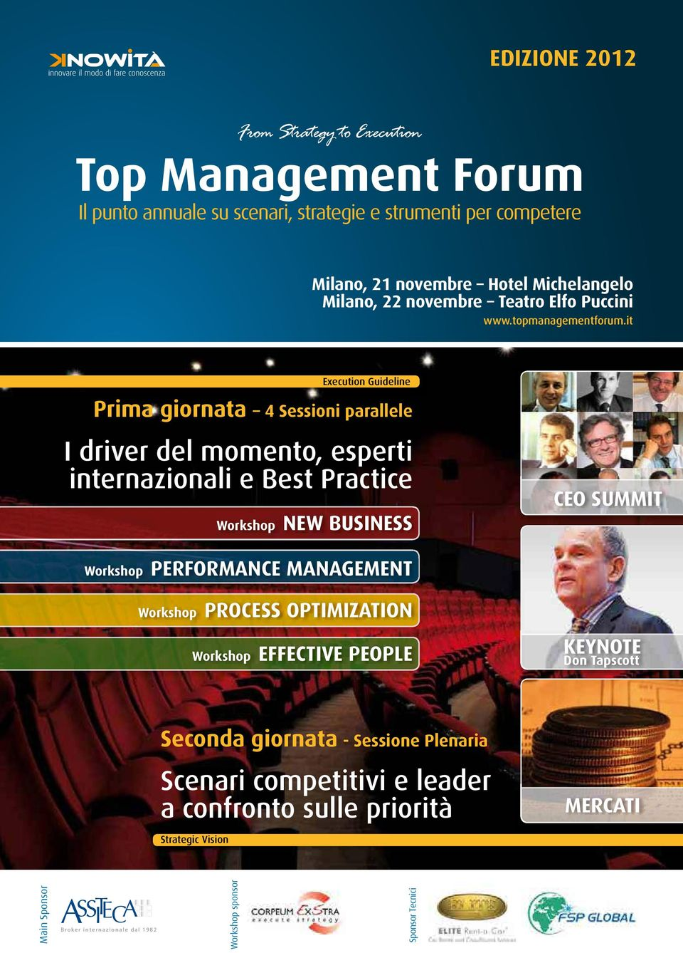 NEW BUSINESS CEO SUMMIT Workshop PERFORMANCE MANAGEMENT Workshop PROCESS OPTIMIZATION Workshop EFFECTIVE PEOPLE KEYNOTE Don Tapscott Seconda giornata - Sessione
