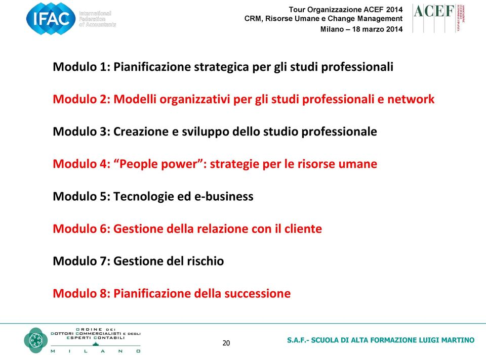 People power : strategie per le risorse umane Modulo 5: Tecnologie ed e-business Modulo 6: Gestione