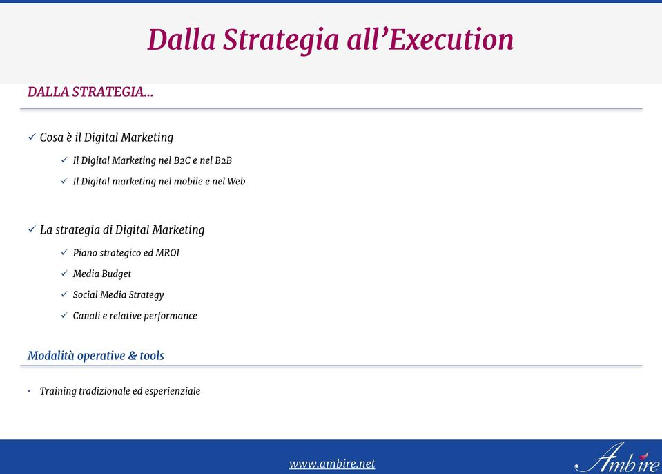 strategia di Digital Marketing Piano strategico ed MROI Media Budget Social Media Strategy