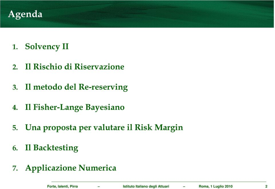 Una proposta per valutare il Risk Margin 6. Il Backtesting 7.