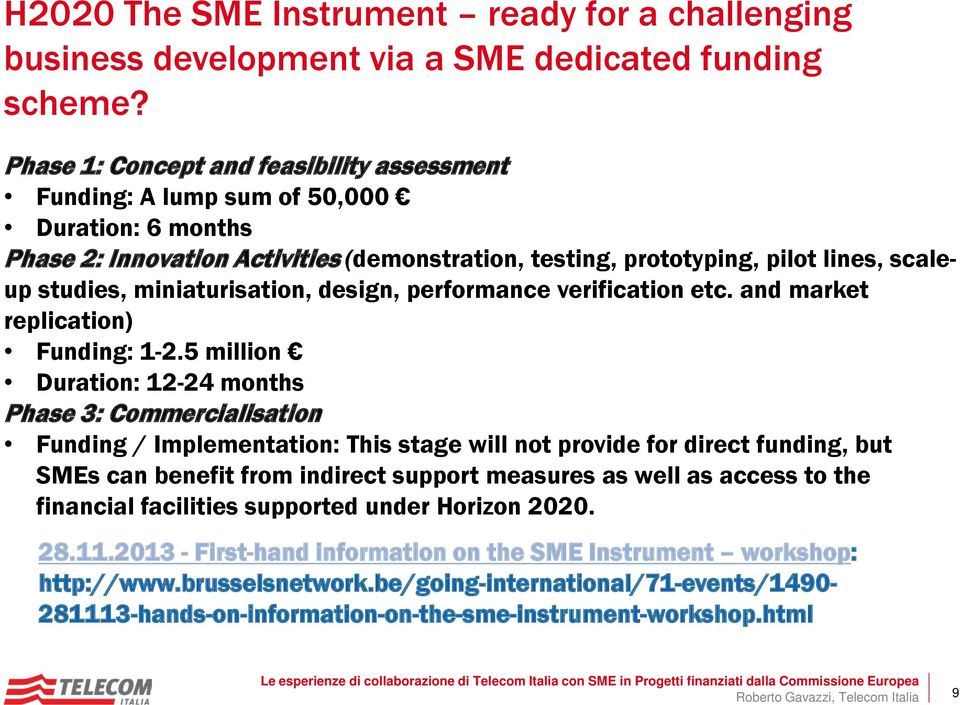 miniaturisation, design, performance verification etc. and market replication) Funding: 1-2.