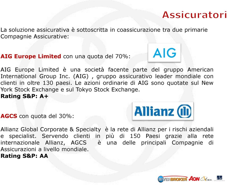 Le azioni ordinarie di AIG sono quotate sul New York Stock Exchange e sul Tokyo Stock Exchange.