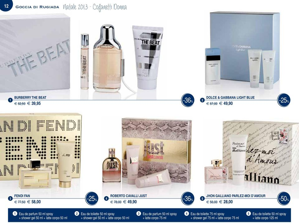 ml spray Eau de toilette 50 ml spray Eau de parfum 50 ml spray Eau de toilette 75 ml spray 5 Eau de toilette 50 ml spray + shower gel
