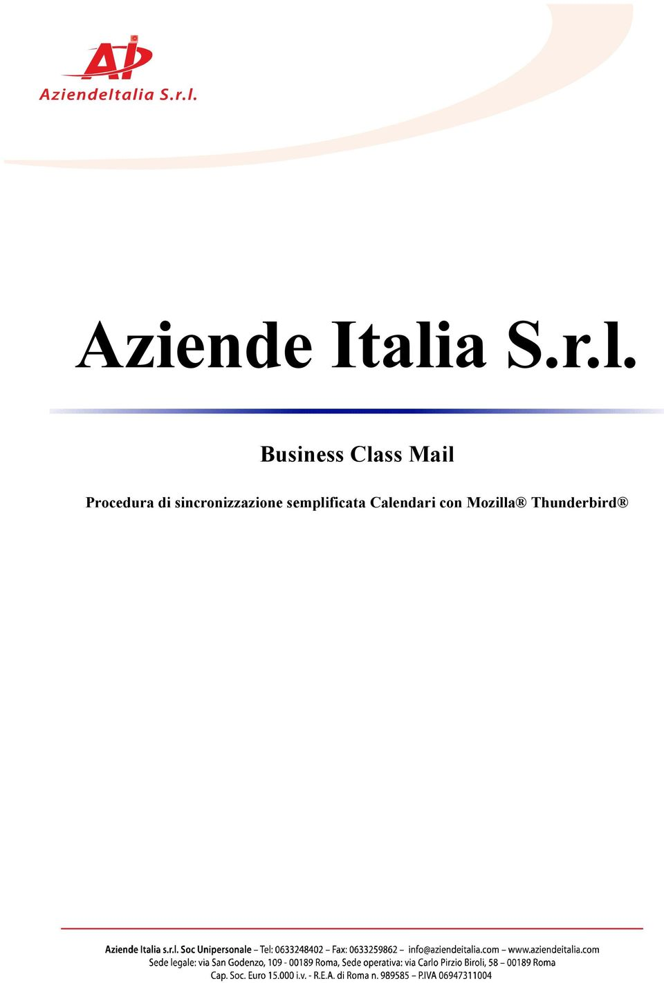 Business Class Mail Procedura