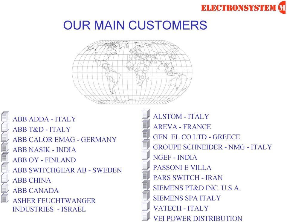 ALSTOM - ITALY AREVA - FRANCE GEN EL CO LTD - GREECE GROUPE SCHNEIDER - NMG - ITALY NGEF - INDIA