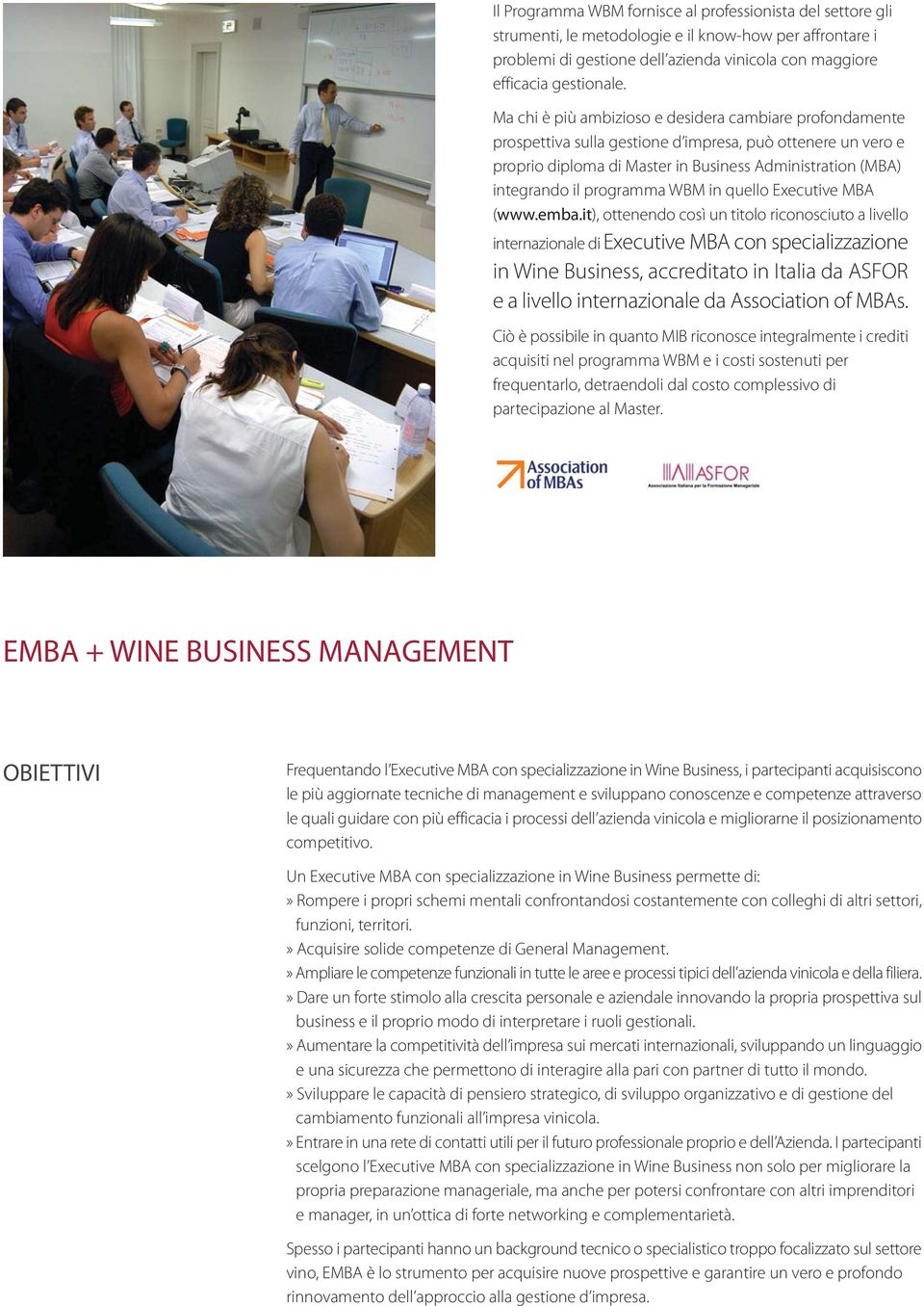 programma WBM in quello Executive MBA (www.emba.