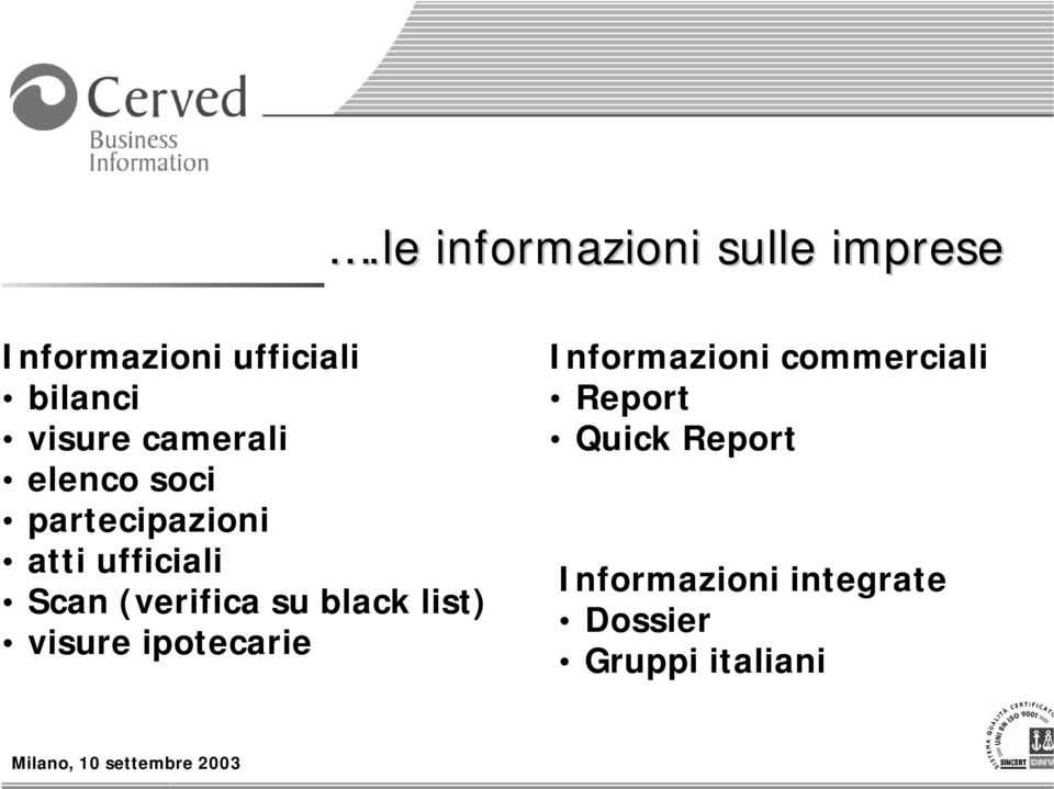 (verifica su black list) visure ipotecarie Informazioni
