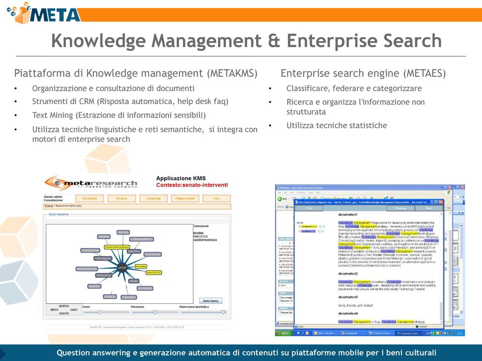 Utilizza tecniche linguistiche e reti semantiche, si integra con motori di enterprise search Enterprise search engine