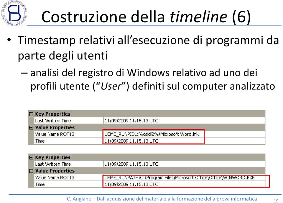 analisi del registro di Windows relativo ad uno dei