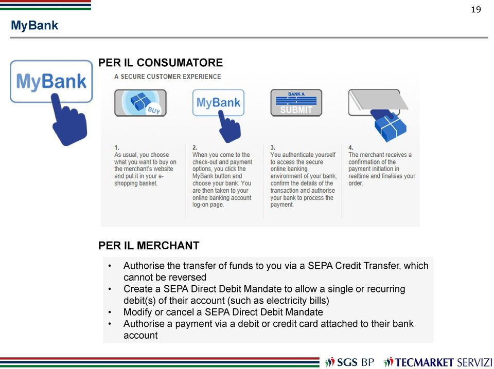 or recurring debit(s) of their account (such as electricity bills) Modify or cancel a SEPA