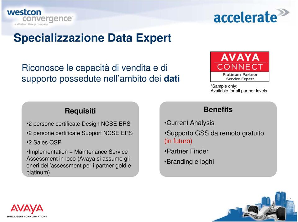 2 Sales QSP Implementation + Maintenance Service Assessment in loco (Avaya si assume gli oneri dell assessment per i