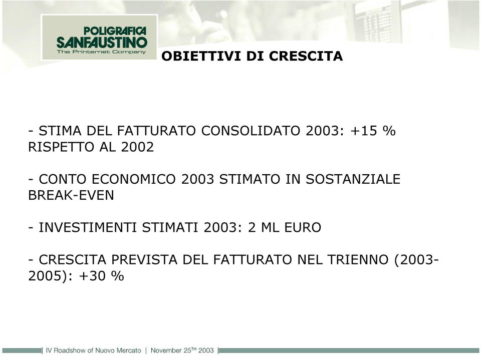 SOSTANZIALE BREAK-EVEN - INVESTIMENTI STIMATI 2003: 2 ML EURO