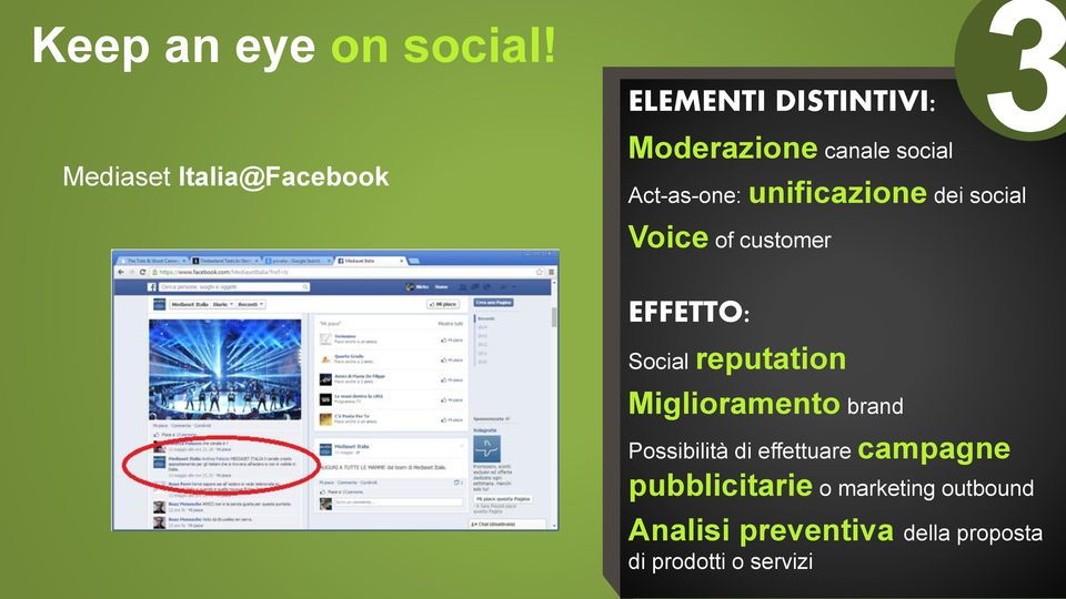 Act-as-one: unificazione dei social 3 Voice of customer EFFETTO: Social