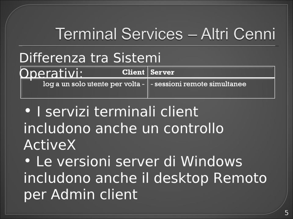 controllo ActiveX Le versioni server di