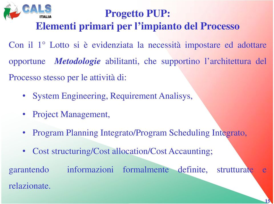 System Engineering, Requirement Analisys, Project Management, Program Planning Integrato/Program Scheduling Integrato,