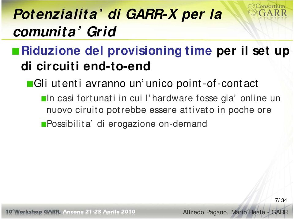 point-of-contact In casi fortunati in cui l hardware fosse gia online un