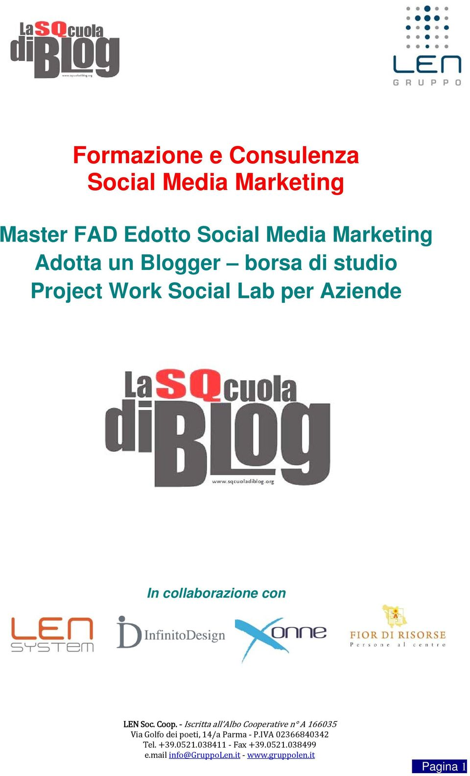 Adotta un Blogger borsa di studio Project Work