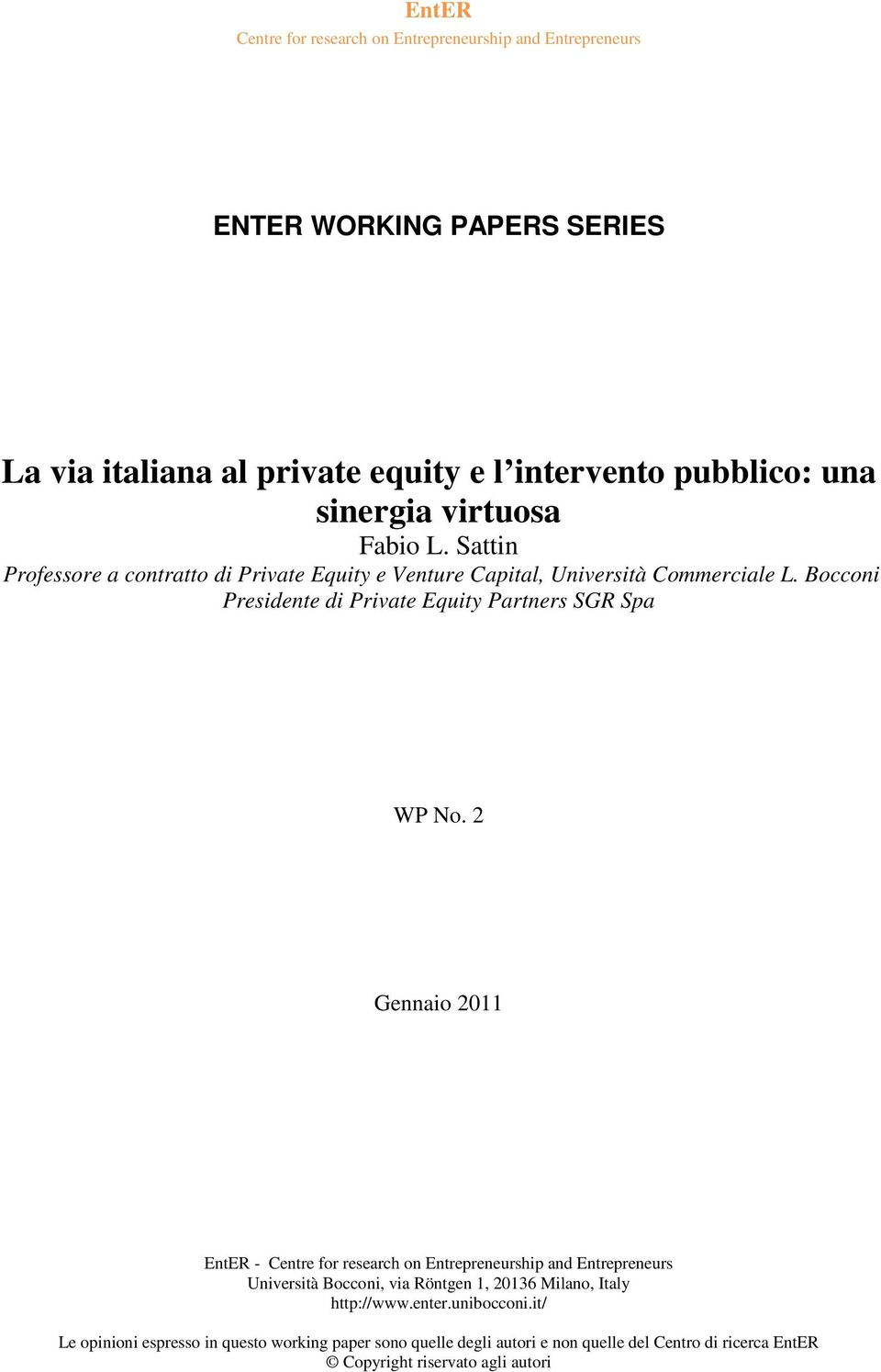 Bocconi Presidente di Private Equity Partners SGR Spa WP No.
