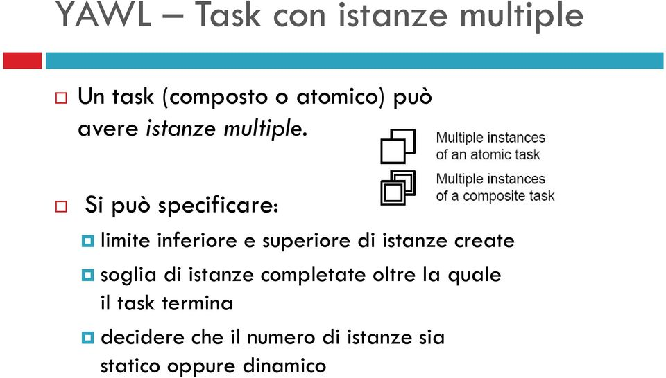 Si può specificare: limite inferiore e superiore di istanze create