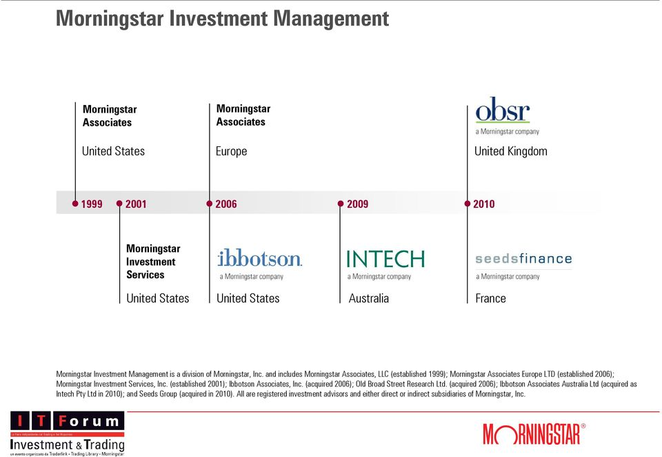 and includes Morningstar Associates, LLC (established 1999); Morningstar Associates Europe LTD (established 2006); Morningstar Investment Services, Inc.