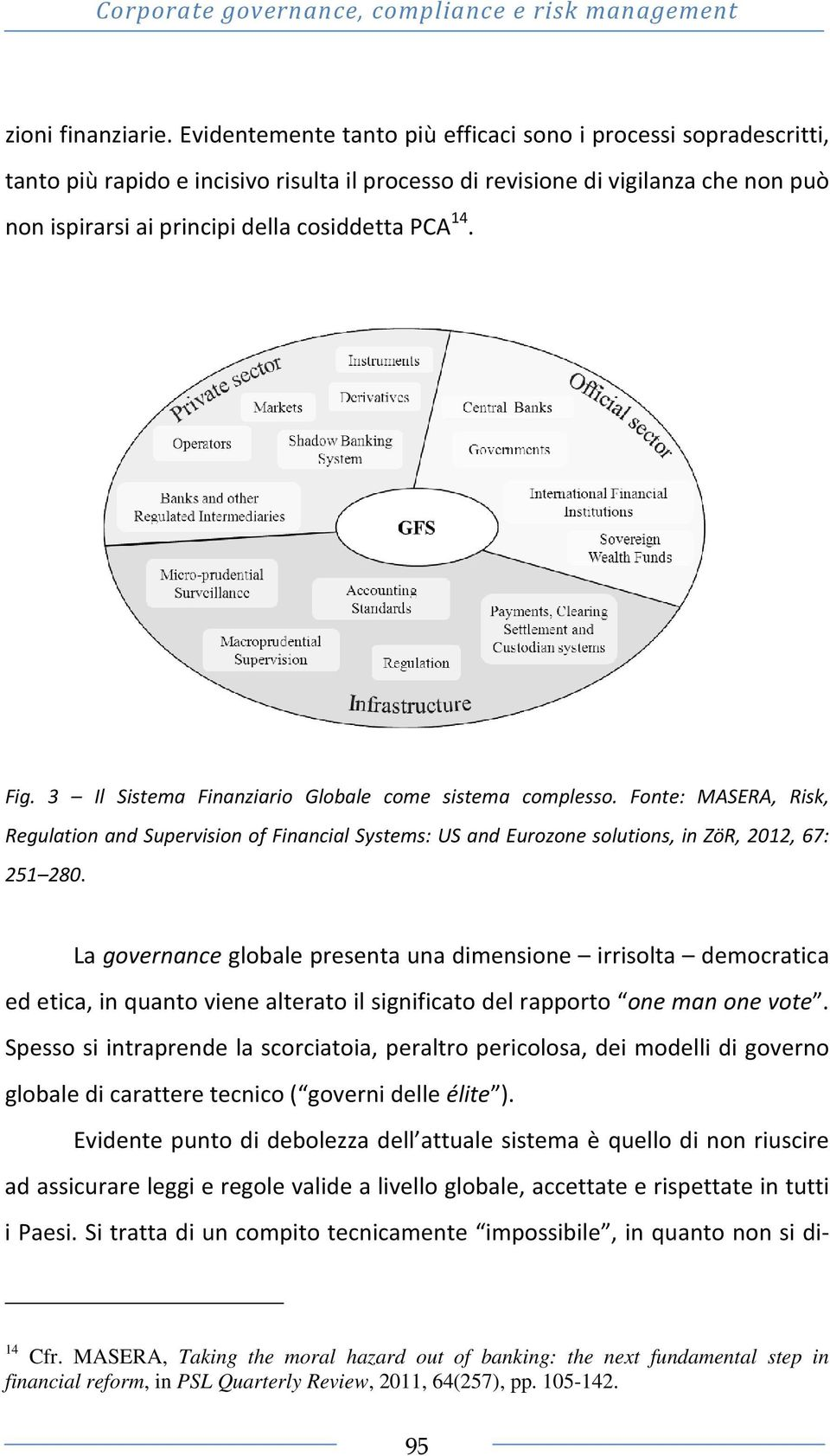 14. Fig. 3 Il Sistema Finanziario Globale come sistema complesso. Fonte: MASERA, Risk, Regulation and Supervision of Financial Systems: US and Eurozone solutions, in ZöR, 2012, 67: 251 280.