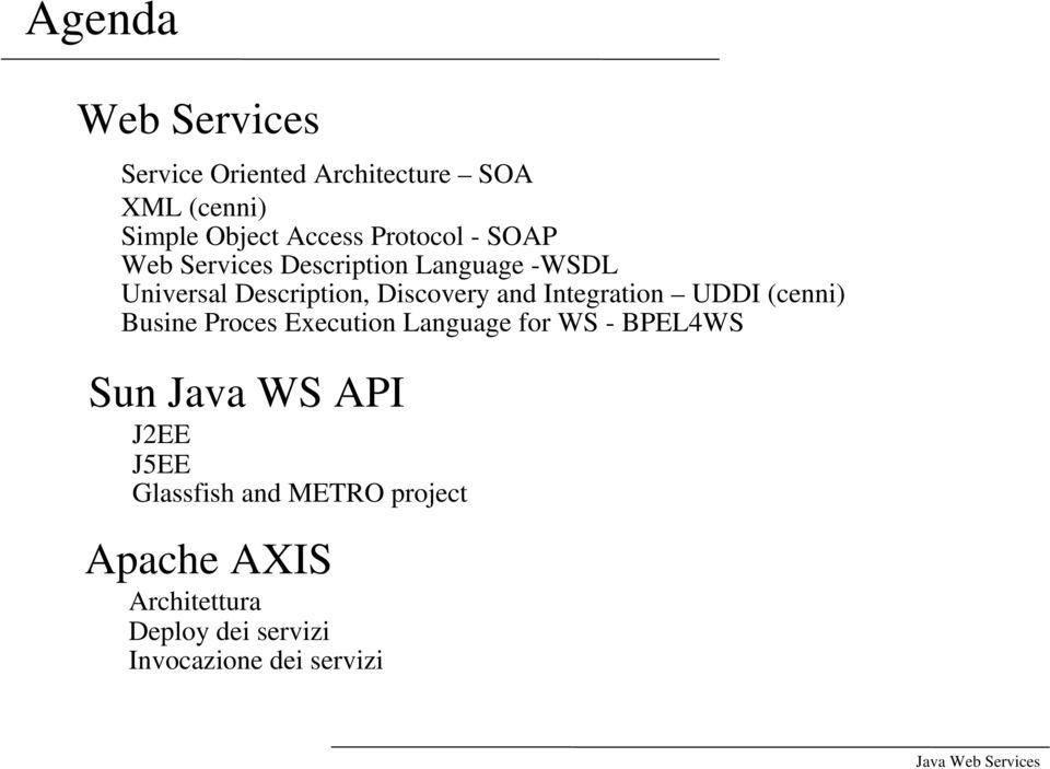 Integration UDDI (cenni) Busine Proces Execution Language for WS - BPEL4WS Sun Java WS API