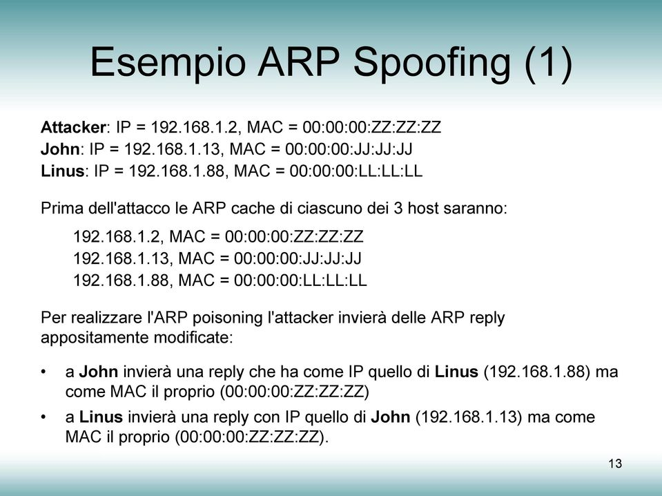ARP reply appositamente modificate: a John invierà una reply che ha come IP quello di Linus (19