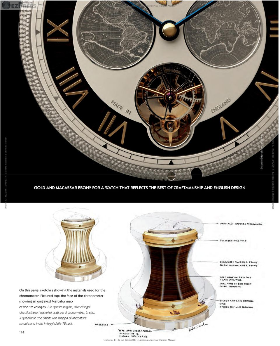 Pictured top: the face of the chronometer showing an engraved Mercator map of the 12 voyages.