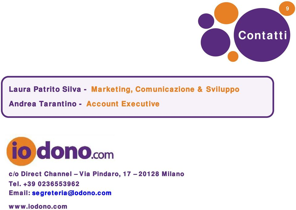 Executive c/o Direct Channel Via Pindaro, 17 20128