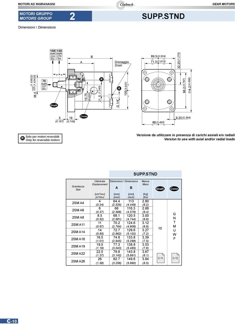 465) Solo per motori reversibili Only for reversible motors Versione da utilizzare in presenza di carichi assiali e/o radiali Version to use with axial and/or radial loads SUPP.